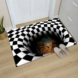 Halloween 3D Sewer Manhole Cover Horror Home Floor Carpet Clown Trapped Visual