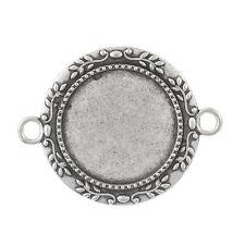PD: 5 Antik Silber Charm Cabochons Kamee Klebestein Fassungen Anhänger 28x35mm