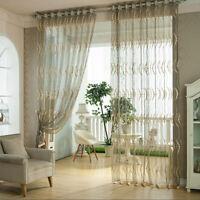 Home Door Window Curtain Drape Panel Sheer Pierced Tulle Scarf Valances Divider