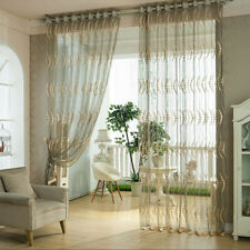 Home Door Window Curtain Drape Panel Sheer Pierced Tulle Scarf Valances Divider