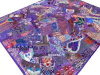 Indian Quilt King Purple Patchwork Bedspread Handmade Heavy Bed cover Boho India