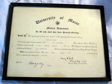 1919 Framed University of Maine Military Department Commission Document