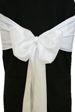"100 White Satin Chair Cover Sash Bows 6"" x 108"" Banquet Wedding Made in USA"