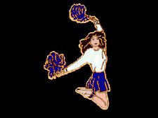 Blue Pom Pom Cheerleader Cheer Leader Lapel Pin - JUMP FOR JOY
