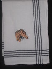 HORSE TEA TOWEL - BROWN EMBROIDERED  Large 19 x 27