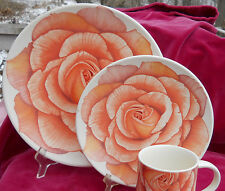 MIKASA ROMANTIC ROSE DINNERWARE DINNER PLATE SALAD 2 PC PINK ORANGE