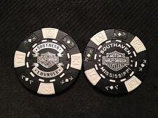 "Harley Poker Chip (Black & White) ""Southern Thunder"" Southaven MS NEW DESIGN"