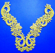 Venise Gold Lace Applique metallic Jewelry 2 pc set medallion trim G-4