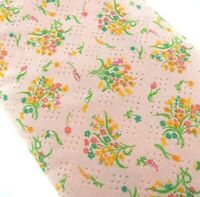 "143x62"" Vintage Pink Floral Eyelet Fabric Sheer Lightweight Yellow Green"