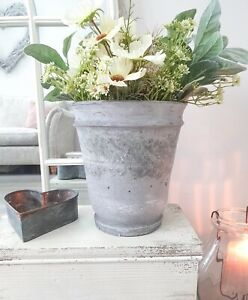 Vintage Chic Antique Rustic Old French Clay Planter Pot Indoor Or Outdoor