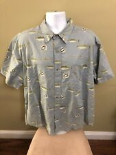 Mens Short Sleeve Woolrich Button Front XL Fly Fishing Print Shirt NWT New (5A)