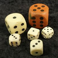 Lot of 6 Vintage dice mixed sizes. 1 Extra Large Wood, 1 Very Large Plastic etc.