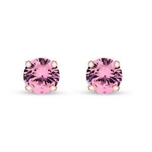 3mm Round Cut Pink Tourmaline Stud Earrings 10K Solid Rose Gold
