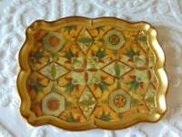 "vintage sezzatini italy FLORENTINE WOOD TRAY hand painted gilt mosaic 19"" x 15"""