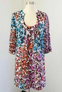 Trina Turk Abstract Print Tunic Dress Size 4 Silk Cheetah Watercolor Blue Pink