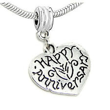 Happy Anniversary Heart Bead Compatible for Most European Snake Chain Bracelet