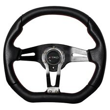 350mm JDM Racing Steering Wheel Black PVC Leather Carbon Look TRD For Toyota
