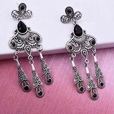 Tassel Dangle Earrings Black Ear Stud For Women Fashion Gem Hanging Earrings