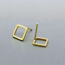 Minimalist 14K Solid Yellow Gold Square Stud Earring