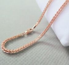 Pure 18K Rose Gold Necklace 1.8mm Classic Wheat Link Chain Necklace 17INCH