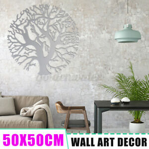 50x50CM Tree of Life Round Metal Wall Art Iron Silver Hanging Garden Home Decor