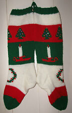 Hand Knit Christmas Stocking Vintage  Pattern Candle Trees Wreath Personalized