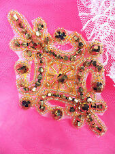 """XR332 Victorian Antique Gold Beaded Applique Sewing Patch Motif 4"""""""