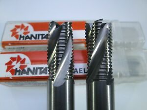 """LOT ( 2 PCS ) HANITA SOLID CARBIDE 1/2"""" ROUGHING END MILLS ROUGHER MILLING TOOLS"""