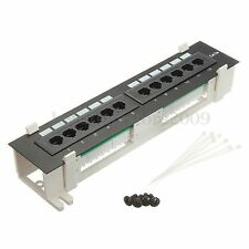 1Pc RJ45 12 Ports CAT5E Network Patch Panel Both Wall Mount & Rack Mount Bracket