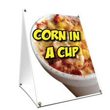 A-frame Sidewalk Sign Corn In A Cup With Graphics On Each Side