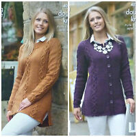 KNITTING PATTERN Ladies Long Sleeve Round Neck Long Cable Tunic & Jacket DK 4076