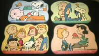 """Peanuts """"Snoopy and His Friends Happiness Is"""" Vinyl Placemats Set of 4 Vintage"""