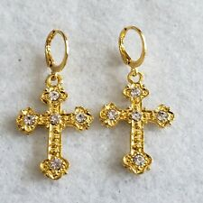 cross pattern design dangle earrings Excellent yellow gold plated crystal