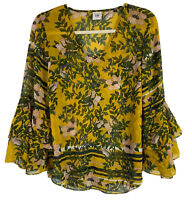 CAbi Women's Bell Sleeve Scene Blouse Top V-Neck Floral Print Yellow Size Small