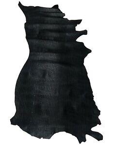 Cow Skin Croco Print Premium Rustic Look Leather Hide 14.42 Sq. ft.(Shiny Black)