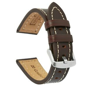 VintageTime Watch Straps - Smooth Grain Stitch Leather Replacement Watch Bands