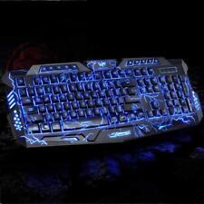 Burst Crack GAME Multimedia 104 KEYS LED LIGHT WIRED KEY CAP  PC KEYBOARD Fast