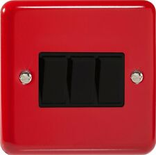 Varilight Pillarbox Red Lily Range - 3 Gang 10A 1 or 2 Way Rocker Light Switch
