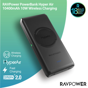 RavPower Power Bank 10400mAh Qi Fast Wireless Charging Pad for iPhone & Samsung