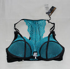 Playboy Ladies BB XO Black Teal Plunge Push Up Front Open Bra Size 14DD New