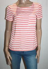 Miss Shop Brand Coral White Stripe Short Sleeve Blouse Top Size 10-S BNWT #SH58