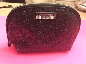 Victoria's Secret Black Purple Glitter Cosmetic Bag (E)