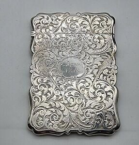 NICE LARGE ANTIQUE STERLING SILVER CARD CASE NATHANIEL MILLS BIRMINGHAM 1843