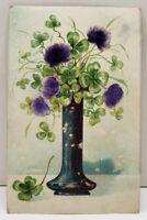 Four Leaf Clovers Purple Velvet applied Flowers Bristol Pennsylvania Postcard D7