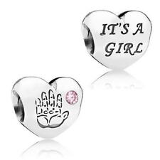 New Authentic Genuine Pandora Sterling Silver It's A Girl love Charm - 791280PCZ
