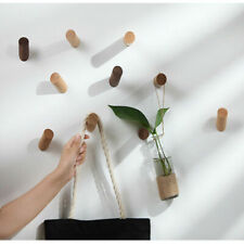 Natural Wooden Coat Hook Wall Mounted Clothes Scarf Hat and Bag Storage Hanger