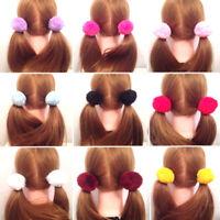 2x Women Girl Pom pom Ball Scrunchie Hair Band Rope Elastic Tie Ponytail Holder