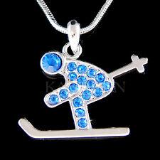 w Swarovski Crystal Royal Blue Skier Alps Alpine Skiing Skis Skate Necklace Cute