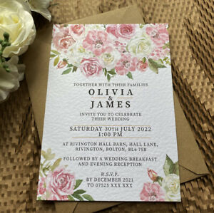 10 pink white ROSES wedding INVITE cards blush rustic floral A5 A6 invitations