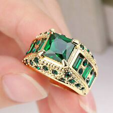 Jewelry Rings Size 7 Green Emerald Crystal CZ Women's Yellow Gold Filled Gift